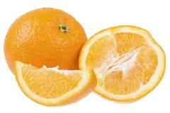 Naranjas cortadas frescas aisladas Imágenes de archivo libres de regalías