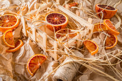 Naranjas de sangre en el pergamino Imagen de archivo