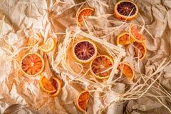 Naranjas de sangre en el pergamino Fotos de archivo libres de regalías