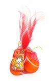 Naranjas en bolso rojo chino del Año Nuevo con la tarjeta Fotos de archivo libres de regalías