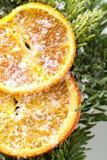 Naranjas en el árbol de navidad Fotos de archivo