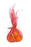 Naranjas en el bolso rojo chino del Año Nuevo, decoración china del Año Nuevo Foto de archivo