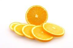 Naranjas en rebanadas Imágenes de archivo libres de regalías