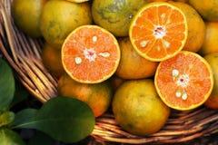 Naranjas en una cesta Imágenes de archivo libres de regalías