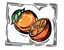 Naranjas estilizadas, con el marco gris Fotos de archivo libres de regalías
