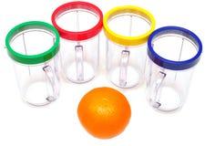 Naranjas frescas y vidrio vacío del jugo Imágenes de archivo libres de regalías