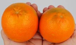 Naranjas jugosas sostenidas en manos imágenes de archivo libres de regalías