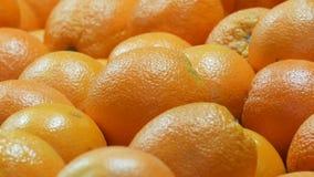 Naranjas maduras hermosas en la parada del mercado La naranja da fruto fondo almacen de video