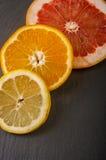 naranjas, pomelo, limón en un fondo negro Imágenes de archivo libres de regalías