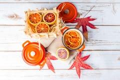 Naranjas y cazuelas de sangre Foto de archivo libre de regalías