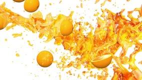Naranjas y jugo animación 3D