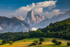Naranjo de Bulnes known as Picu Urriellu in Asturias, Spain.  royalty free stock photography