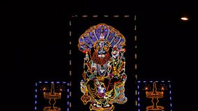 Narasimha阁下点燃与被带领的照明设备 免版税库存照片