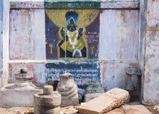 Narasimha-Malerei auf Wand bei Amma Mandapam Stockfotografie