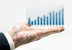 Narastająca wykres mapa Biznesowy pieniężny na męskiej ręce w bielu Zdjęcie Royalty Free