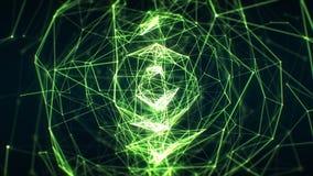 Narastającej Abstrakcjonistycznej sieci Zielony kolor w cyberprzestrzeni Bezszwowej z DOF plamą Zapętlająca 3d animacja Futurysty royalty ilustracja