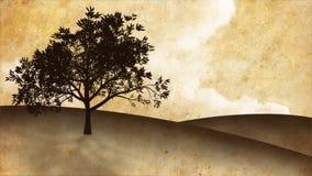 Narastający drzewo na wzgórzu, sepiowy tło (HQ 1080P) ilustracji