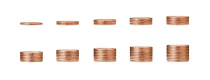 Narastający pieniądze wykres na rzędach brąz moneta i stosie c 1, 10 Zdjęcie Royalty Free