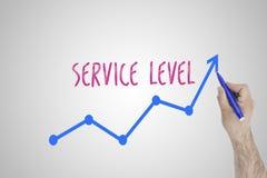Narastający poziom usług pojęcie na białej desce Biznesmena remis przyśpiesza linię udoskonalający poziom usług przeciw whiteboar fotografia royalty free