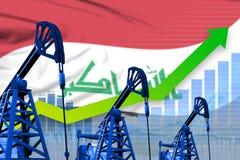 Narastający wykres na Irak flagi tle - przemysłowa ilustracja Iracki przemysłu paliwowego lub rynku pojęcie ilustracja 3 d ilustracja wektor