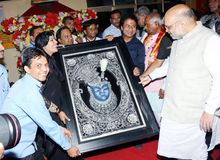 BJP President Amit Shah meet disable children and visit Narayan Seva Sansthan stock photos