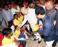 BJP President Amit Shah meet disable people and visit Narayan Seva Sansthan royalty free stock image