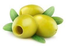 Narbige grüne Oliven Lizenzfreies Stockfoto