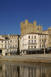Narbonne and Canal de la Robine in Narbonne,. Canal de la Robine in Narbonne, Languedoc-Roussillon - France Stock Photos