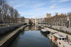 Narbonne Canal du Midi. Narbonne France central square with view of start of the canal du midi Stock Image