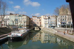 Narbonne, Canal du Robine Images stock