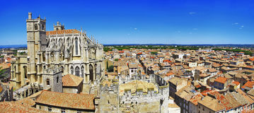 Narbonne ,France. Narbonne , panoramic view with cathedral. south France Royalty Free Stock Photo