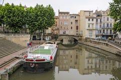 Narbonne, Francja i Kanałowy De Los angeles Robine, Obraz Royalty Free
