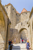 Narbonne Gate (1280) fortress of Carcassonne, France. UNESCO List Royalty Free Stock Photos