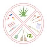 Narcótico prohibido Logotipo y advertencia infographic Fotografía de archivo libre de regalías