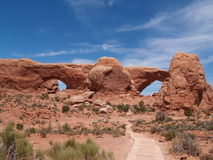 Natural stone arches in desert. Natural stone arches in the desert at Arches National Park, Utah, USA Royalty Free Stock Photography