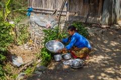 NARCHYANG, NEPAL 18 DE MARÇO: Povos 18 dos Himalayas, 2015 em Narchyan Foto de Stock Royalty Free