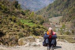 NARCHYANG, NEPAL 18. MÄRZ: Himalajaleute 18, 2015 in Narchyan Lizenzfreie Stockbilder