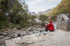 NARCHYANG, NEPAL 18. MÄRZ: Himalajaleute 18, 2015 in Narchyan Stockfoto