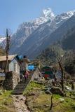 NARCHYANG, NEPAL 21. MÄRZ: Himalajaleute 21, 2015 in Narchyan Lizenzfreie Stockbilder