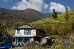 NARCHYANG, NEPAL 21. MÄRZ: Himalajaleute 21, 2015 in Narchyan Stockbild