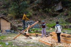 NARCHYANG, NEPAL 21. MÄRZ: Himalajaleute 21, 2015 in Narchyan Stockbilder