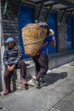 NARCHYANG, NEPAL 21. MÄRZ: Himalajaleute 21, 2015 in Narchyan Lizenzfreies Stockbild