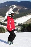 Narciarka stojaki na górze góry Obraz Royalty Free