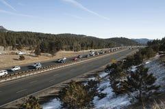 narciarki ciężki ruch drogowy Zdjęcie Royalty Free