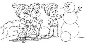 narciarki małe ilustracji