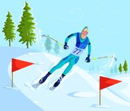 Narciarki narciarstwo na zjazdowym Zdjęcia Stock