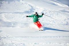 Narciarki offpiste freeride backcountry przy śniegu proszkiem Zdjęcie Royalty Free