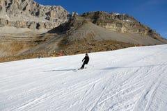 Narciarska narciarka przy Passo Groste narty terenem i skłon Zdjęcia Stock