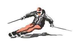 Narciarski pojęcie z kreślącą narciarką ilustracja wektor