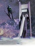 Narciarski skok Zdjęcia Royalty Free